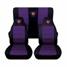Fits 2016 Subaru Impreza Front and Rear Seat Covers Black Purple Hibiscus Turtle