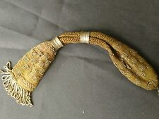 ANTIQUE VICTORIAN Brown KNITTED & CUT STEEL MISERS STOCKING PURSE c1860