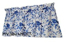 Michael Miller fabric Blue / White Bird window curtain VALANCE  kitchen topper