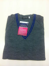 "Grey School Uniform 'V' Neck Jumper royal blue Trim  36"" chest"