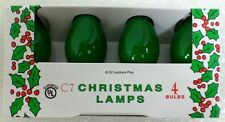 (4 Pack) of GREEN C-7 Light Bulbs 5 Watt Holiday Christmas Night Incandescent