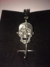 "SKULL DR15  Scarf , Brooch and Kilt Pin Pewter 3""  7.5 cm"