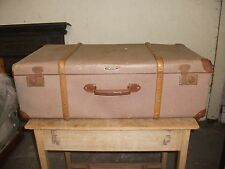 "2' 8"" Vintage Wood Bound Suitcase Steamer Travel Trunk Old Luggage Display Prop"