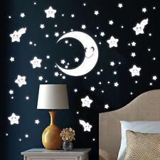 10470 Wandtattoo Loft Leuchtaufkleber Mond Sterne Leuchtsterne Gesicht leuchtend