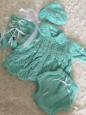 "New: Pretty Hand Knitted 4 Piece Matinee Outfit  For 24"" Reborn Baby Girl"