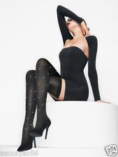 New Wolford Pearls Thigh Highs Stay-ups Black Small 28052 Rare