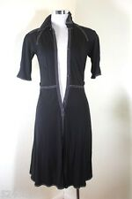 Vintage HERMES Classic Black Contrast Stitching Dress Small 34 2 3 4 France
