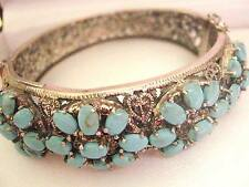 52g Vintage Sterling Silver Filigree Turquoise Statement Bangle Victorian style