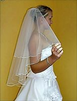 """2T White / Ivory Wedding Prom Bridal Elbow Veil With Comb 31"""""""