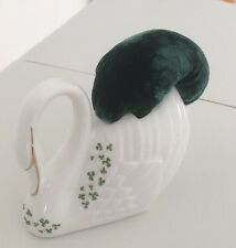 Vintage China Swan Up Cycled Into A Pin Cushion White And Green