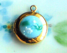 #562H Vintage Locket charm Pendant Glass Czech Tiny Round Gold Plated NOS Girl
