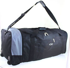 "XL 32"" Folding Wheeled Holdall Weekend Travel Luggage Duffle Sport Bag Case B/GR"