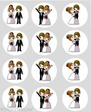 12 Bride & Groom Cupcake Toppers Ricepaper Cake Decorations wedding favours
