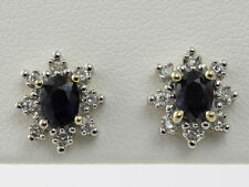NATURAL 1.0 CTW SAPPHIRE AND 1/4 CTW DIAMOND EARRINGS in 10K YELLOW & WHITE GOLD
