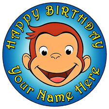 """CURIOUS GEORGE PARTY - 7.5"""" PERSONALISED ROUND EDIBLE ICING CAKE TOPPER (4)"""