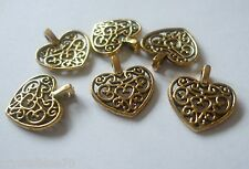 50 x coeur filigrane charme antique gold tone 17x15mm Pendentifs crafts conclusions