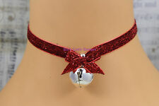 9mm Red Glittery Choker Necklace Red Bow Silver Bell Goth Christmas Xmas Party