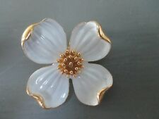 Vintage Signed Trifari Crown Gold-Tone White Enamel Dogwood Flower Pin Brooch