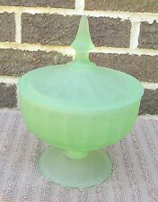 Vintage Green Satin Frosted Glass Pedestal Compote Candy Nut Trinket Dish w/ Lid