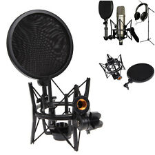 Microphone Mic Shock Mount Holder Stand Integrated Pop Filter Pro Audio Studio