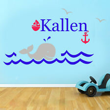 Large Personalised Whale, Ocean Scene Sail Boat Vinyl wall art Decal Sticker