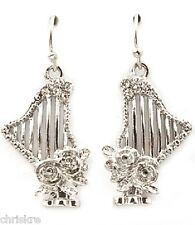 Silver Plated Harp Earrings Crystal Music Teacher Gift Musical Instrument USA