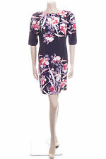 Ladies Size 8 George Navy Blue Pink Flower Summer Evening Dress Party Frock