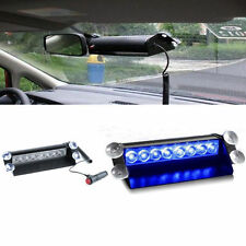 12V 8 LEDs Car Dash Strobe Flash Light Emergency Police Warning 3 Modes Blue