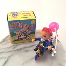 Vintage 1950s Boys Tricycle Wind Up Toy with Happy Days Flag & Box Made in Korea