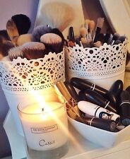 Large Make Up Brush Holder Pot White  / Candle Holder FREE DELIVERY