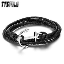TTstyle Multi Stripe Black Leather 316L Stainless Steel Anchors Bracelet NEW