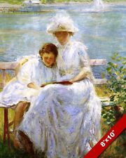 YOUNG MOTHER & DAUGHTER READING BOOK IN SUMMER PAINTING ART REAL CANVAS PRINT