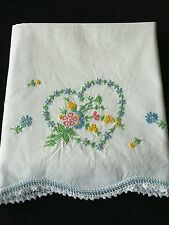 Vintage Embroidered Flower Heart Pillowcase with Crocheted Trim Linens
