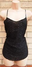 PAPAYA PARTY BLACK FAUX FUR GLITTER STRAPPY TUNIC CAMI VEST TOP BLOUSE 10 S