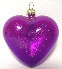 3.5 Inch-Cute NEW-Purple Glitter Filled Heart- Glass Christmas Ornament-Germany