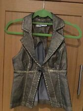 TOPSHOP SHINEY GOLD  DENIM GILLET WITH HOOK & EYE FRONT FASTENING/SIZE 8/NWOT