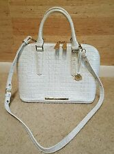 EUC Brahmin Vivian Satchel Handbag Quartz La Scala White Dome Croc Leather