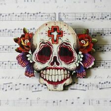 RoCkAbiLLy GoTh LARGE WOODEN MEXICAN DAY OF THE DEAD SUGAR SKULL BROOCH 64mm