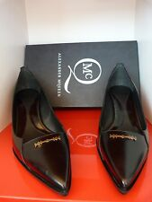 ALEXANDER McQUEEN CAT RAZOR  BLACK LEATHER STILETTO SHOES .. UK 8   EU 41