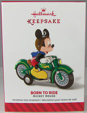 BORN TO RIDE Mickey on Motorcycle 2014 Hallmark Christmas Holiday Ornament NIB