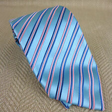 Charvet Tie Silk Striped Blue Pink Stripe Teal Turquoise RRP £175 Necktie Mens