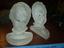 VINTAGE Antique FROSTED GLASS Cherub Bookends Set ART DECO