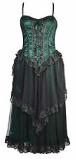 Dark Star Gothic Green Satin & Net Victorian Laced Corset Ballgown Dress 12-18