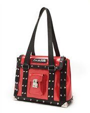 Lux De Ville Mini Weekender Bag Venom Red Sparkle Matte Black Studded BRAND NEW