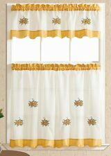 BRIGHTER & SOFTER. 3pcs voile kitchen curtain/ cafe curtain set. GOLD SUNFLOWERS