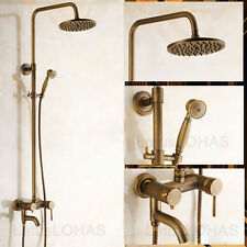 "Bathroom Antique Brass 8"" Rain Shower Faucet Tap Set Mixer Valve W/ Tub Spout"