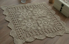 """23"""" Square Ecru Crochet Lace Doily Floral Table Cloth Topper Runner"""