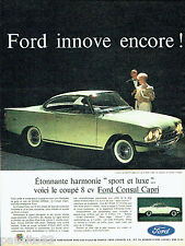PUBLICITE ADVERTISING 046  1961  Ford  la Consul Capri 315