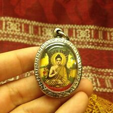 Beautiful Buddha under the Bodhi Tree Thai Amulet Tile Talisman Pendant Protect