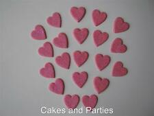 20 X EDIBLE CANDY PINK GLITTER HEARTS. CAKE DECORATIONS - SMALL 2cm